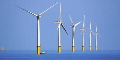 Offshore wind farms - the wind farm Walney in northwest England is shown - will