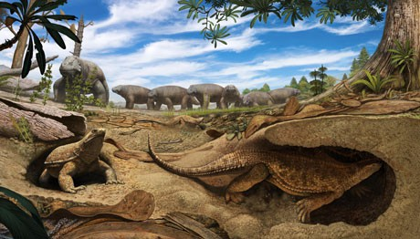 Life reconstruction of the early proto-turtle Eunotosaurus (foreground) burrowin