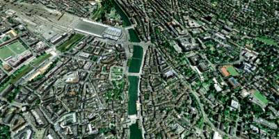The three-dimensional model of Zurich was created using image data alone. (Visu