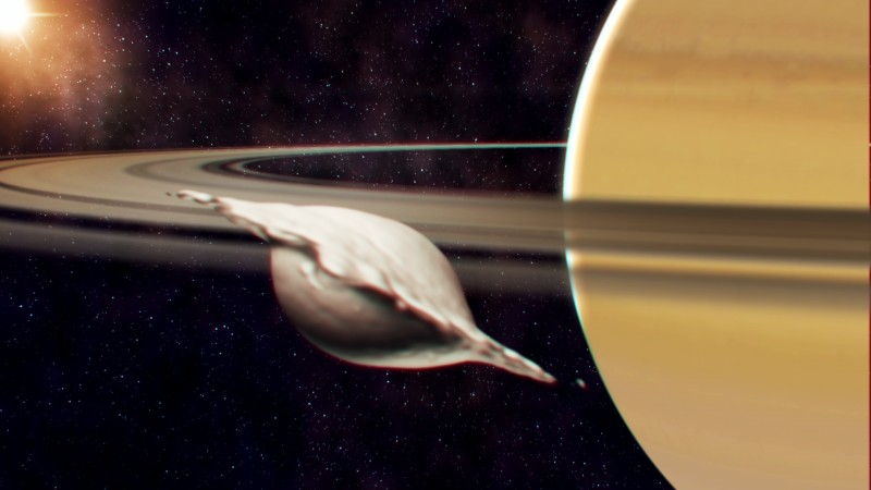 Formation of Atlas, one of the small inner moons of Saturn. Its flat, ravioli-li