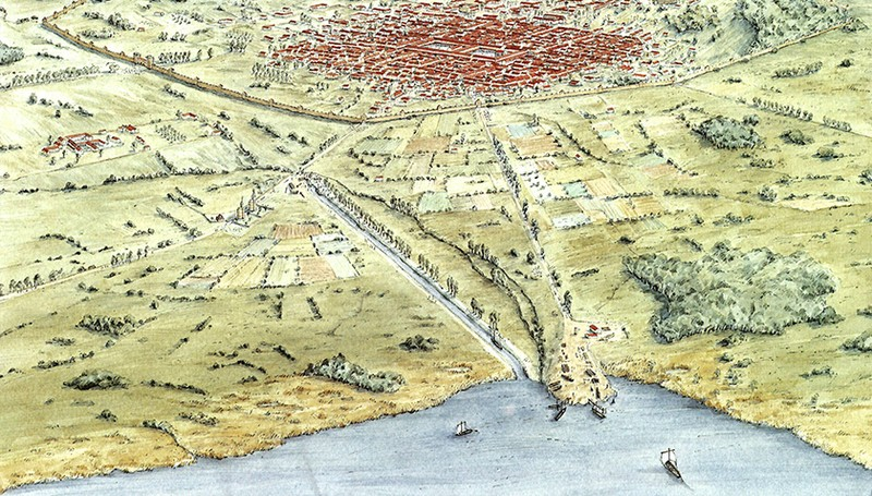 Reconstruction of the city of Aventicum on Lake Murten, former capital of Roman