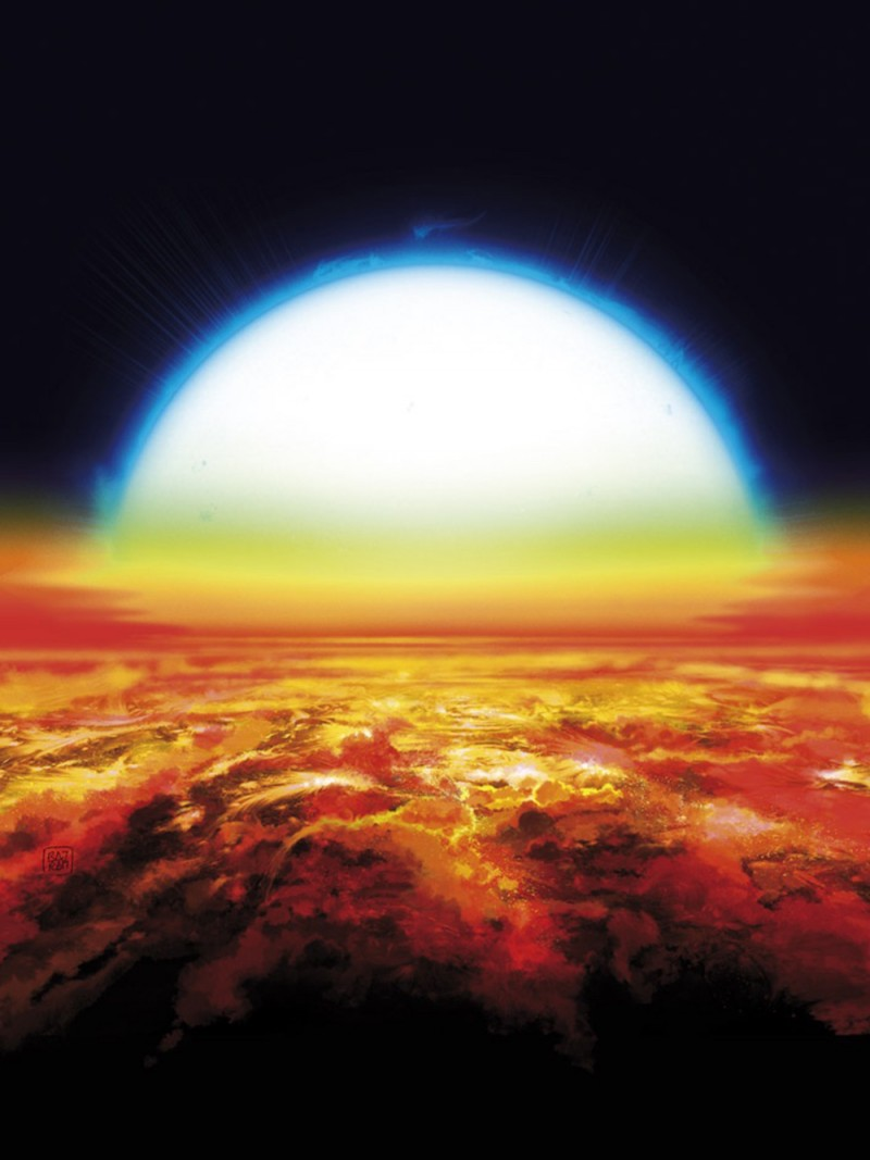 Artist's impression of a sunset over KELT-9b. Under this blazing sun, the