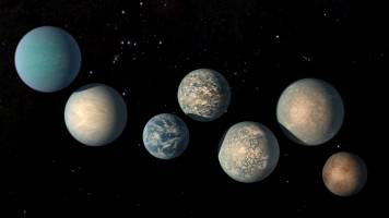 This illustration shows the seven Earth-size planets of TRAPPIST-1. The image do