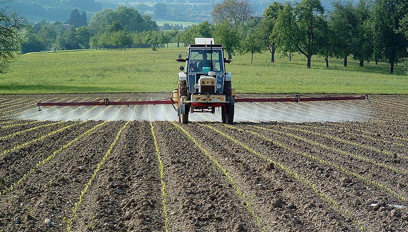 Pesticides from agriculture finish up in water bodies and harm microorganisms. (