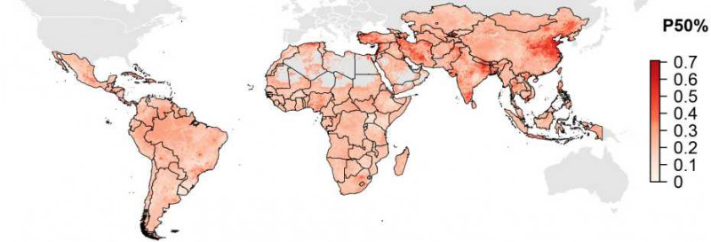 Geographic distribution of antimicrobial resistance in LMIC. P50 is indicating t