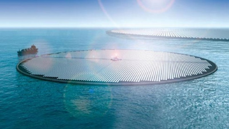 The floating solar islands could look like this. On the ship to the left are all