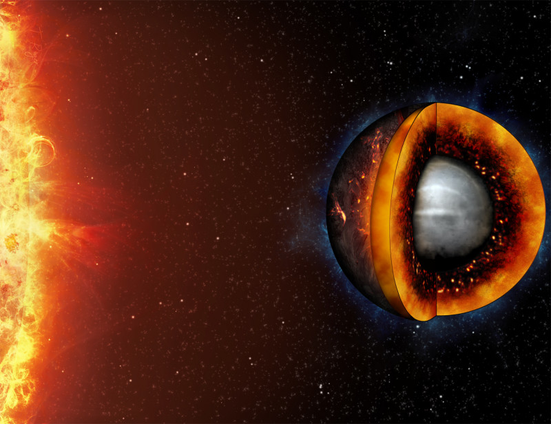 Artist's impression of the interior of a hot, molten rocky planet. © Unive