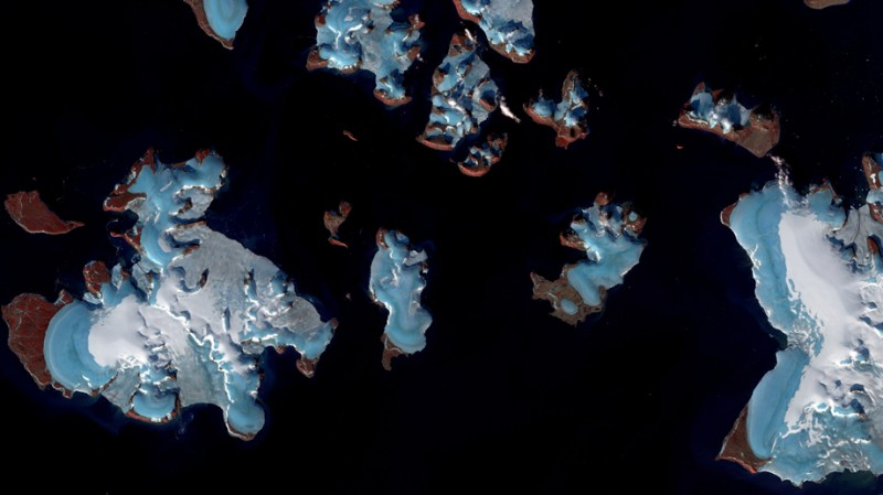 Melting glaciers in Russia's Arctic territory. This image shows the blue g