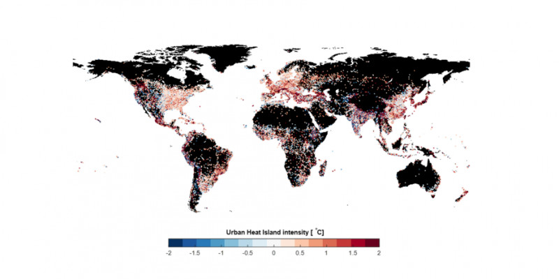 The map shows in which cities the heat island effect is most significant.  (Gabr