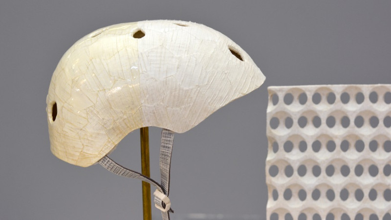 A bicycle helmet or a wall element made of delignified wood: designer Meri Zirke