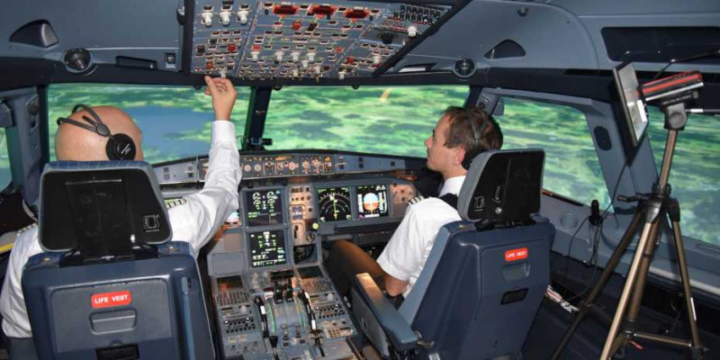 In the cockpit of an A320 flight simulator, an eye-tracking system consisting of