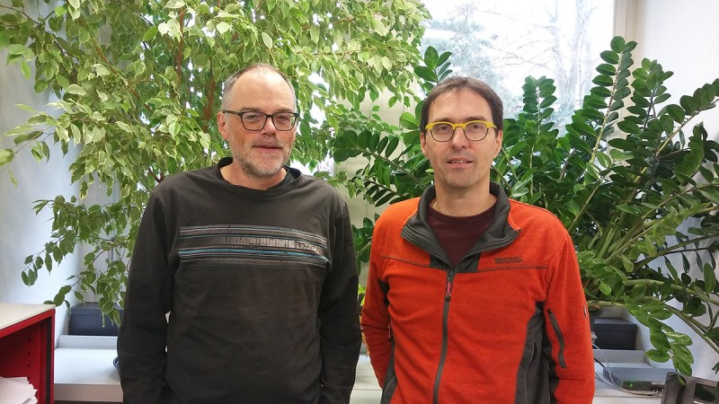 André Schneider and    Norbert Polacek. Picture: DCB, University of Bern.