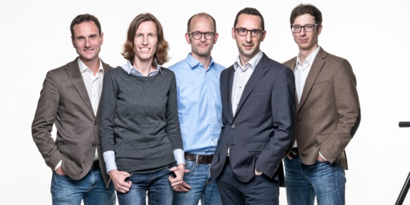 CEO Peter Nestorov's  (2nd from right)  company now employs over 20 people