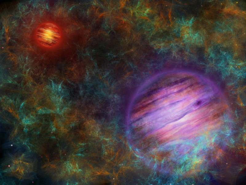 Artist's composition of the two brown dwarfs, in the foreground Oph 98B in