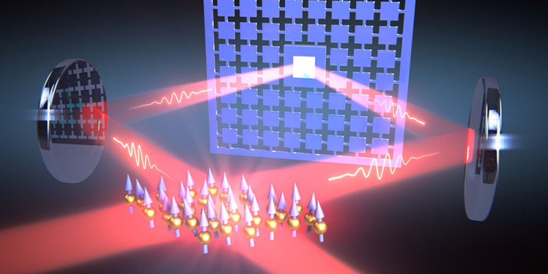 A loop of laser light connects the oscillations of a nanomechanical membrane (ba