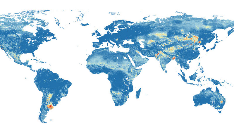 Global hazard map of groundwater arsenic pollution: Red indicates a high probabi
