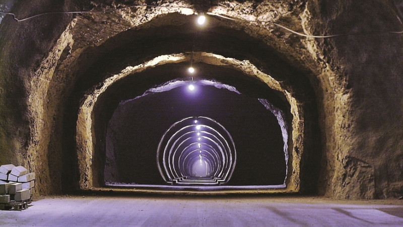 Exploratory tunnel in the Mont Terri international rock laboratory. Since 1996,