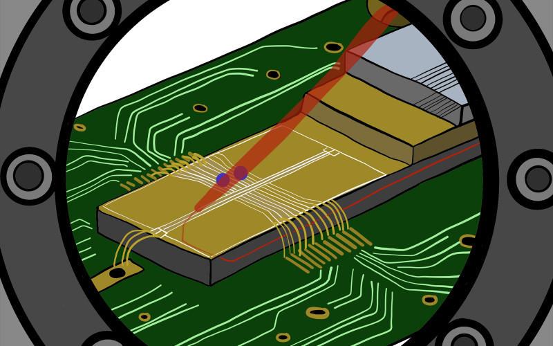 An ion trap with integrated waveguides. The laser light (red) for controlling th