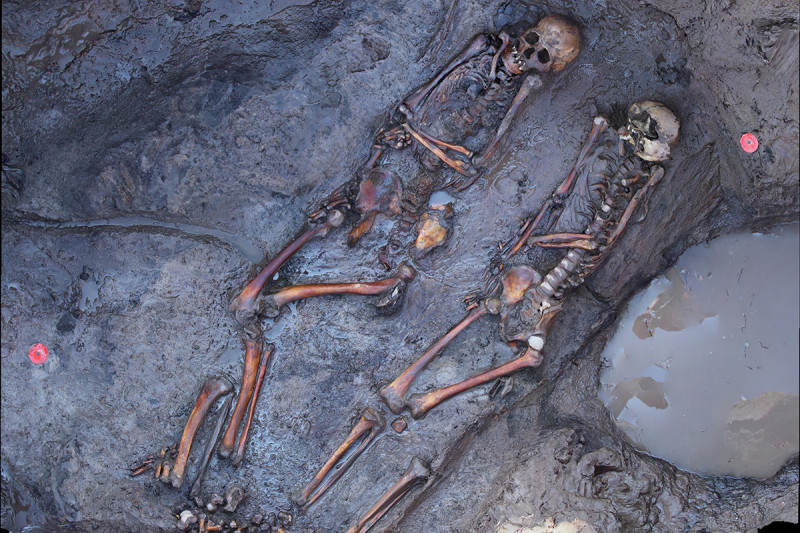 1700 years old skeletons of southsiberian steppe nomads site of Tunnug1. © Tunnu