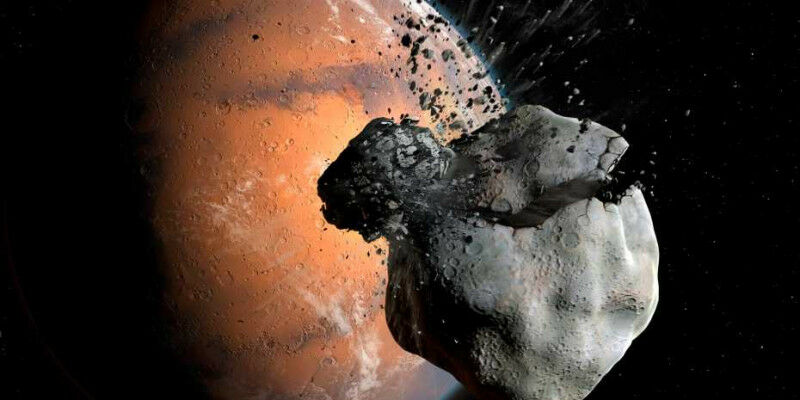Artist's impression of the collision between a Martian primordial moon and