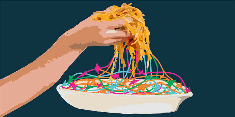 Eating spaghetti requires a high level of fine motor skills.(Illustration: Unive