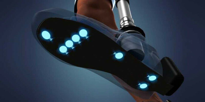Signals from tactile sensors under the sole of the prosthetic foot and from angl