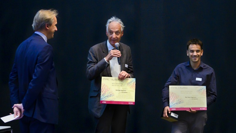 Impact Award winners Hans Hagemann (centre) and Léo Duchêne (right) at the award