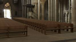 [Simulation] In 2022, the pews will replace the chairs dating from 1912. © Canto