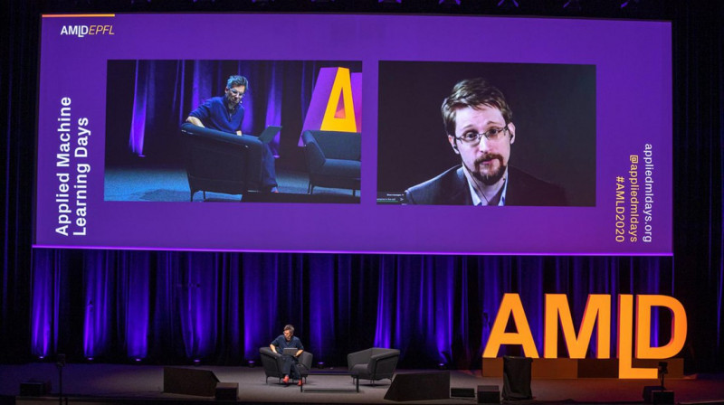 Edward Snowden speaks via videoconference with EPFL's Marcel Salathé at EPFL