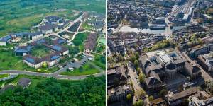 On the left is the Asheshi University in Ghana, on the right is the main buildin