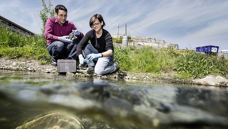 Florian Altermatt and doctoral student Elvira Mächler take water samples in Chri