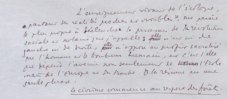 Fragment du manuscrit des 'Méfaits de l'instruction publique'