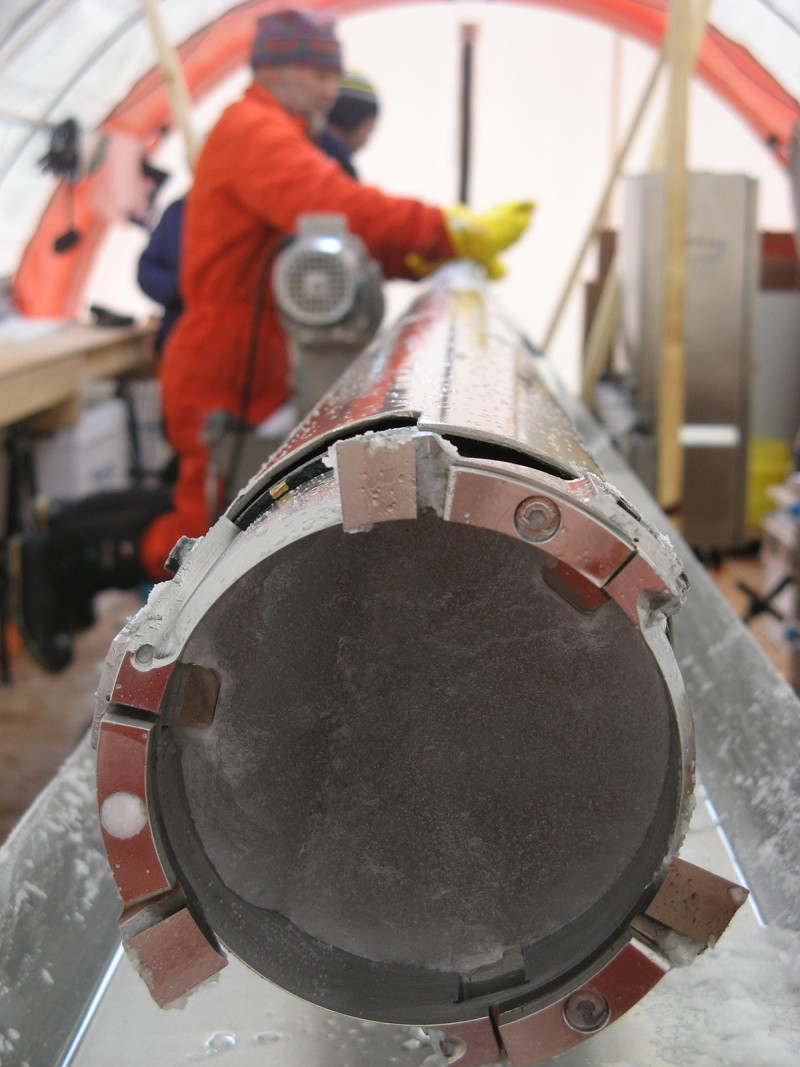 Ice core drilling in Antarctica. Ice cores contain important climate information