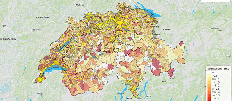 The maps available on the website of the University of Geneva allow to consult,