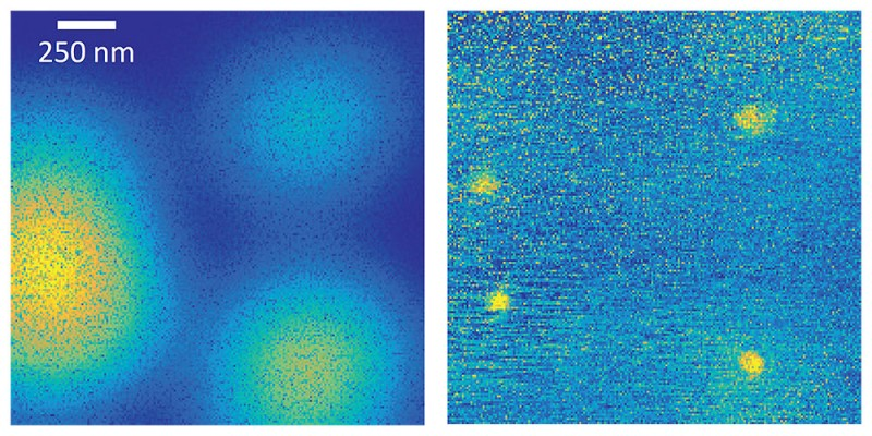Image of quantum dots in a semiconductor: whereas the image taken with a normal