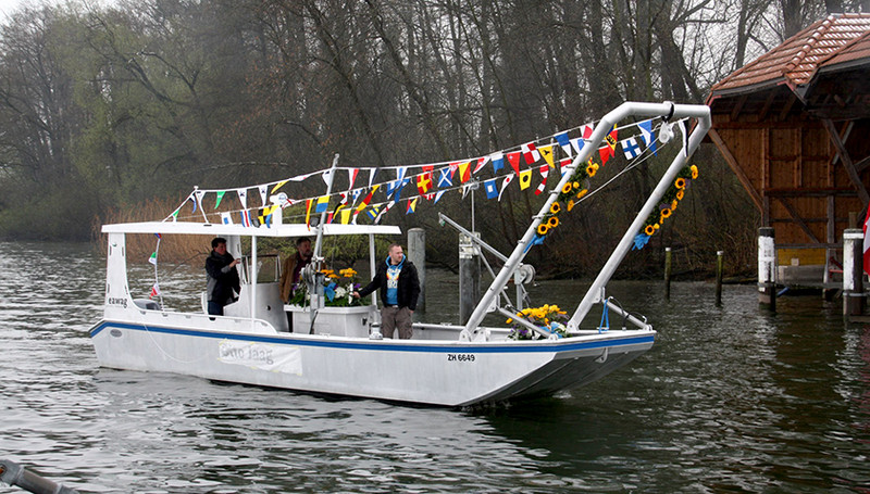 The Greifensee research vessel Otto Jaag at the boat's launch in 2013.