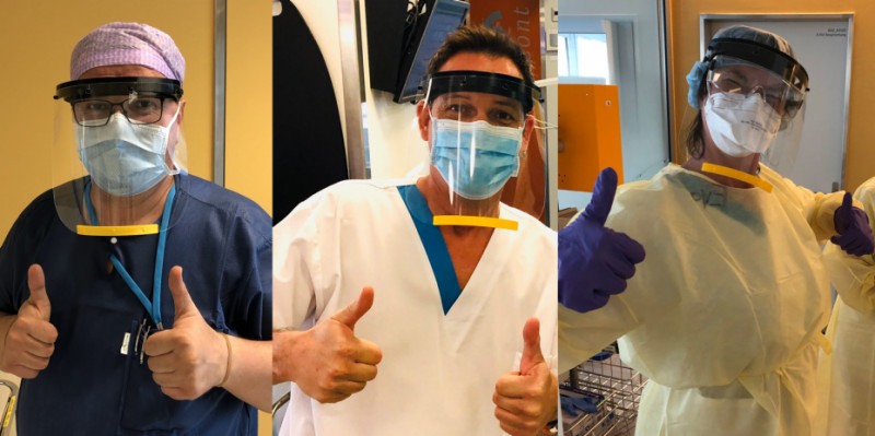 Employees at the hospital in Männedorf received face shields from helpfulETH.