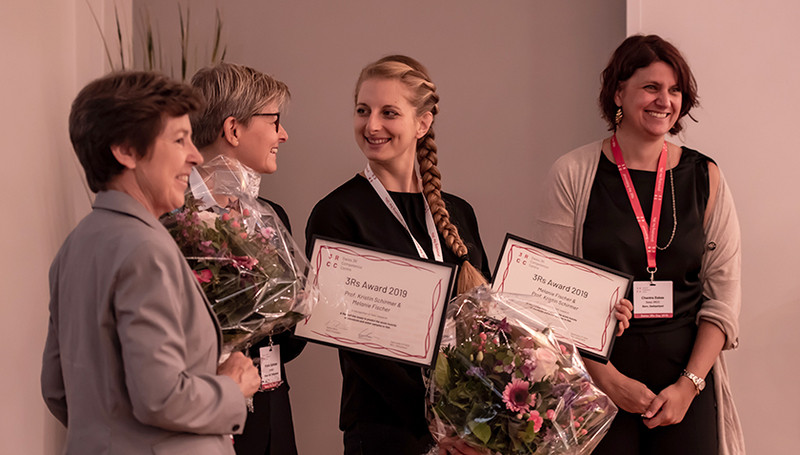 Kristin Schirmer (second from left) and Melanie Fischer (second from right). (Ph