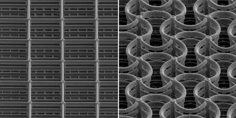 This silicon-coated metamaterial can be charged electrochemically. This changes
