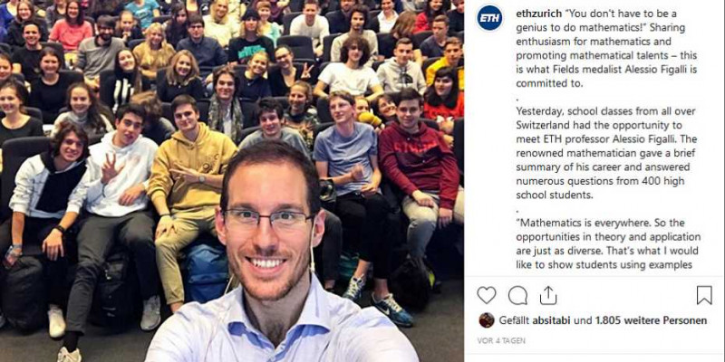 On Instagram, the Selfie with Alessio Figalli and the 400 students is very popul