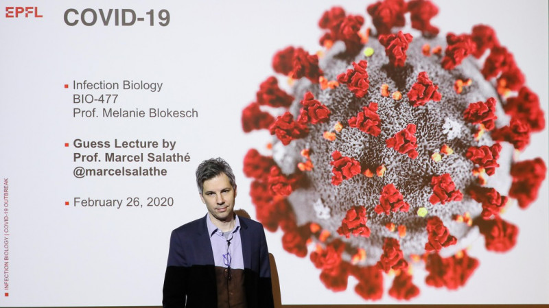 Marcel Salathé during his coronavirus lecture on 26 February 2020. Credit: Alain