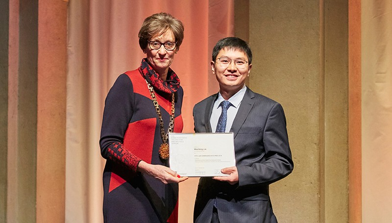 Wenfeng Liu received the Otto Jaag Water Protection Prize 2018 at the official c
