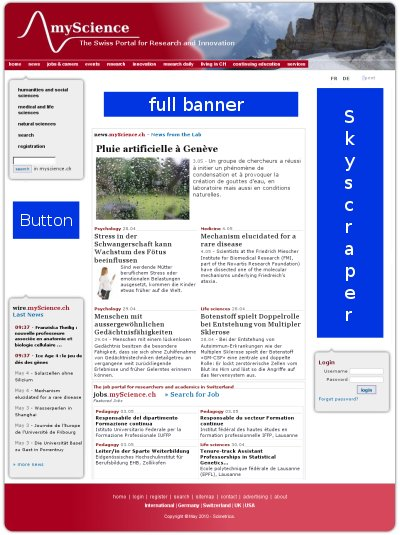 Preview for advertising on myScience.ch